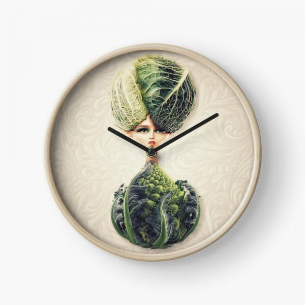 Clock with Oddtoe's Sweaty Cabbage artwork in the center